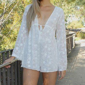 Pants - Gypsy White Floral Embroidered Bell Sleeve Romper